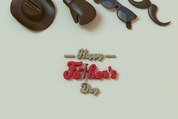 Happy father's day tre caratteri tridimensionali per biglietto di auguri