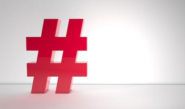 Hashtag rosso su sfondo bianco con copia spazio