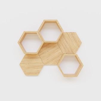 Hexegon shelf copy space