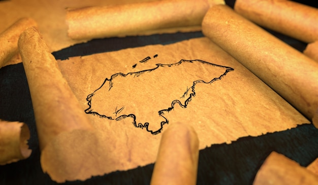 Honduras disegno della mappa unfolding old paper scroll 3d