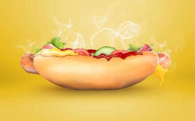 Hot dog classico con senape. fast food americano