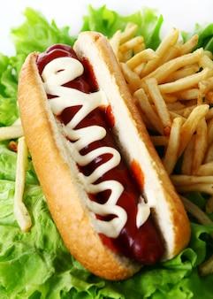 Hot dog fresco e saporito con le patate fritte