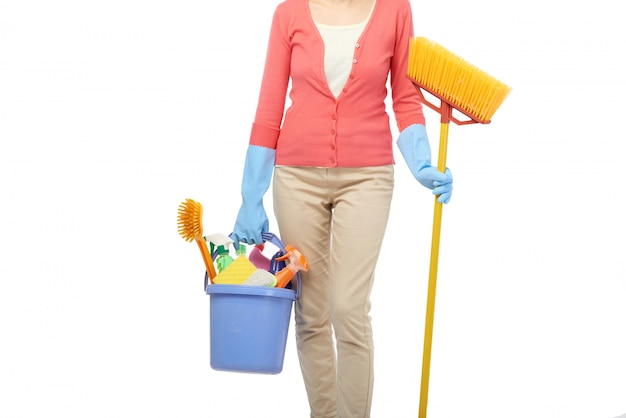 Housekeeper cleaning house