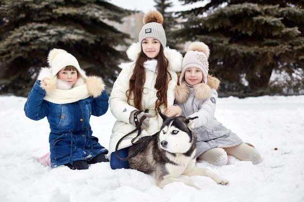 I bambini escono e giocano con il cane husky in inverno. i bambini si siedono sulla neve e accarezzarono il cane husky. passeggiata nel parco in inverno, gioia e divertimento, cane husky con gli occhi azzurri. , dic
