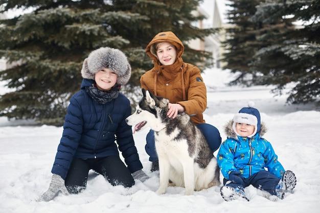 I bambini escono e giocano con il cane husky in inverno. i bambini si siedono sulla neve e accarezzarono il cane husky. passeggiata nel parco in inverno, gioia e divertimento, cane husky con gli occhi blu.