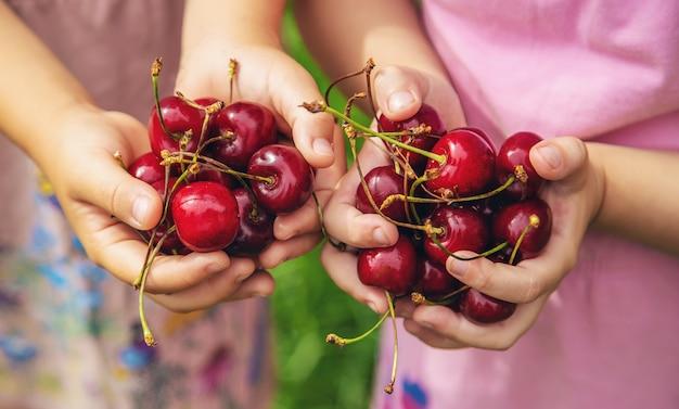 I bambini mangiano le ciliegie in estate