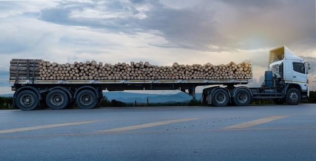 I camion bianchi caricati del legname che arrivano e parcheggiano sulla strada asfaltata in un paesaggio rurale