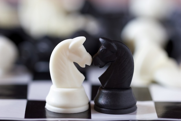 I cavalli delle parti di scacchi si fronteggiano