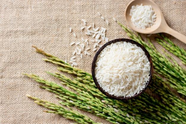 I chicchi nella ciotola sono stati posti sulla tela di sacco e sono state poste le spighe di riso.