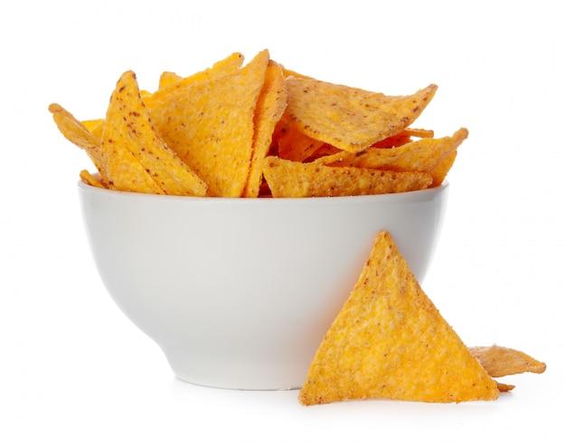 I chip dei nachos si chiudono in su su priorità bassa bianca