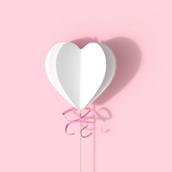 I cuori bianchi modellano con il nastro rosa su fondo rosa. concetto di idea di san valentino minimale.