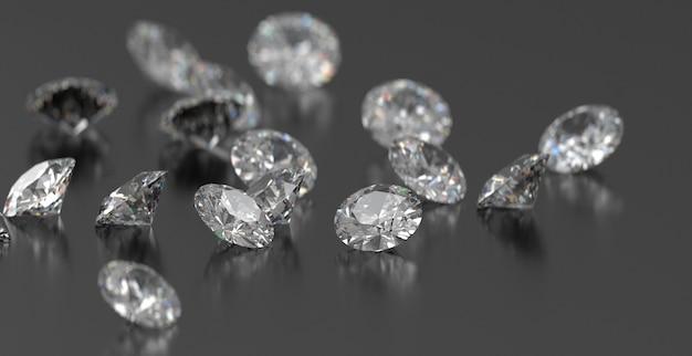I diamanti rotondi raggruppano disposto su fondo lucido scuro, la rappresentazione 3d, fuoco molle.