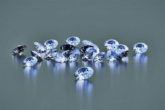 I diamanti rotondi raggruppano disposto su fondo lucido scuro, la rappresentazione 3d.