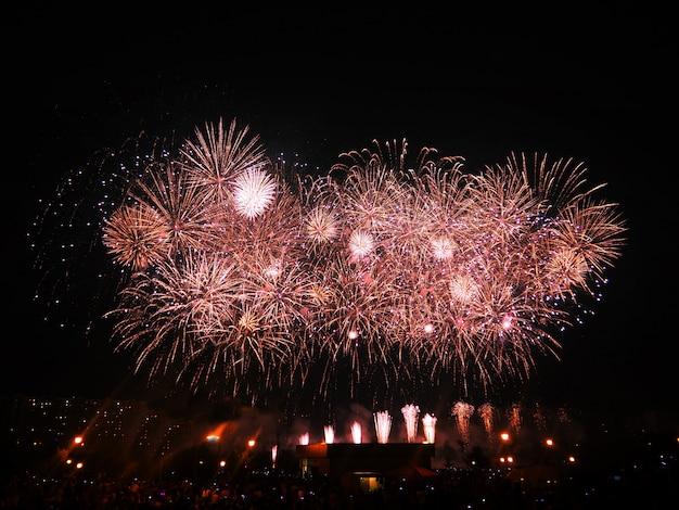 I fuochi d'artificio illuminano il cielo con uno spettacolo abbagliante.
