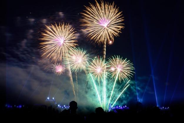 I fuochi d'artificio variopinti alla notte accendono il cielo con l'esposizione abbagliante.