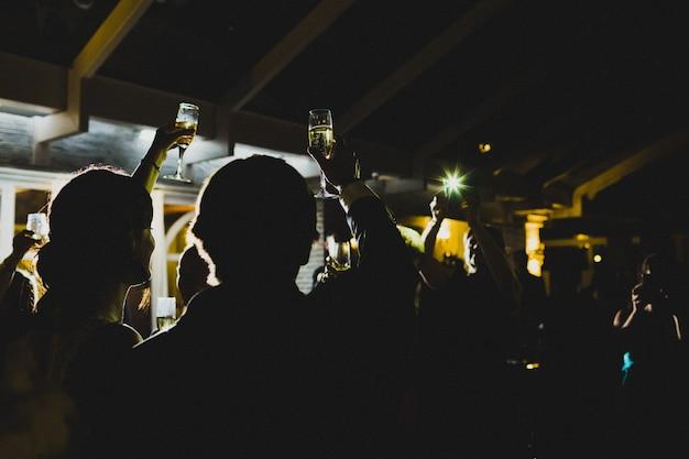 I giovani festeggiano facendo brindisi con gli occhiali e bevendo alcolici.
