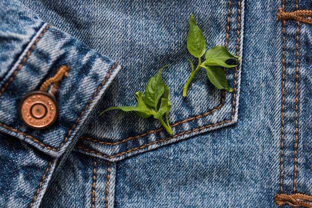 I jeans poggiano su una giacca con una manica sullo sfondo, fiori primaverili, foglie verdi su di essa