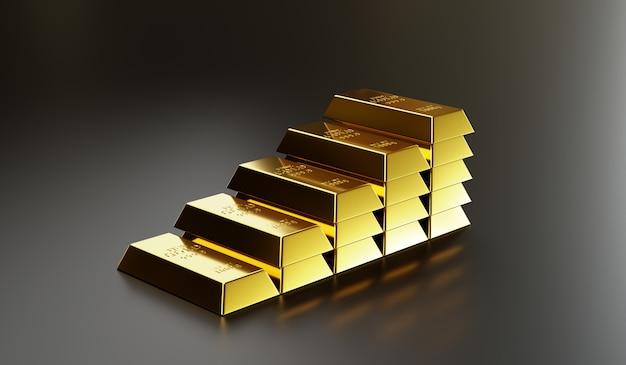 I lingotti d'oro sono disposti in strati più alti per comunicare il valore più elevato dell'oro, con investimenti, investimenti, risparmi e successo finanziario. rendering 3d