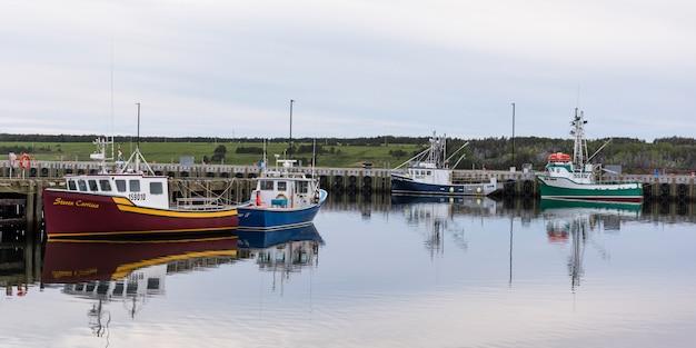 I pescherecci da pesca hanno attraccato al porto, petit etang, isola del capo bretone, nuova scozia, canada