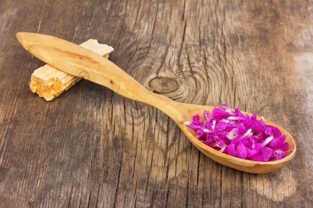 I petali porpora del fiore piantano la morta-ortica porpora in un cucchiaio di legno sul bordo di legno anziano