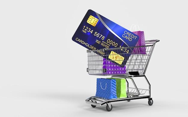 I sacchetti della spesa, il carrello della spesa e la carta di credito sono un mercato digitale online del negozio online per i controlli da parte del consumatore.