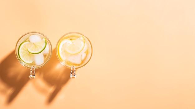 I vetri con le fette del limone copiano lo spazio
