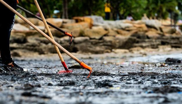 I volontari usano il rastrello per spazzare via la spazzatura dal mare. pulitore della spiaggia che raccoglie immondizia sulla spiaggia del mare dentro al sacchetto di plastica trasparente. volontari che puliscono la spiaggia. riordinare la spazzatura sulla spiaggia.
