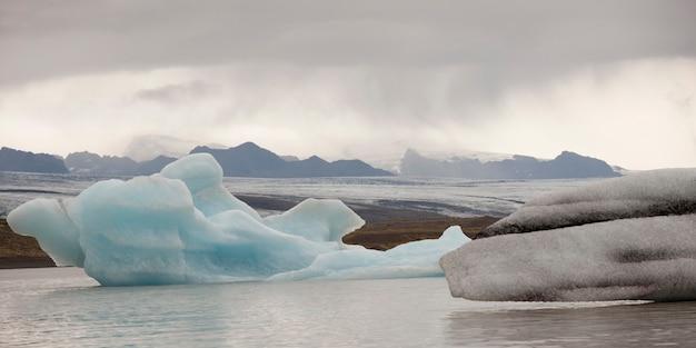 Iceberg galleggianti nell'oceano lungo una nebbiosa costa montuosa