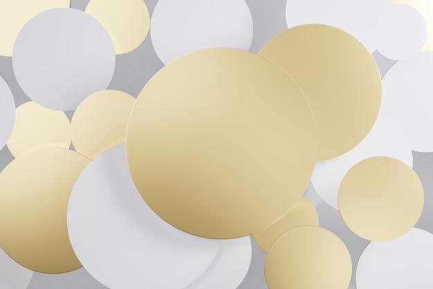 Icona del cerchio rotondo bianco e oro. rendering 3d