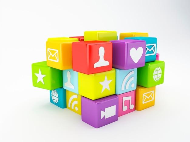 Icona dell'app per telefono cellulare. concetto di software