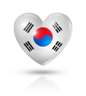 Icona della bandiera del cuore di amore corea del sud