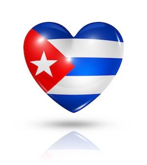 Icona della bandiera del cuore di amore cuba