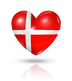 Icona della bandiera del cuore di amore danimarca