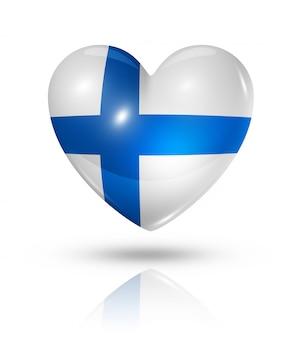 Icona della bandiera del cuore di amore finlandia