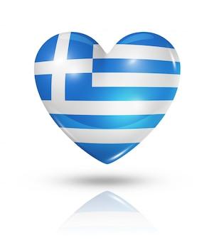 Icona della bandiera del cuore di amore grecia