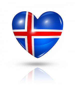 Icona della bandiera del cuore di amore islanda