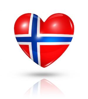 Icona della bandiera del cuore di amore norvegia