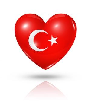 Icona della bandiera del cuore di amore turchia