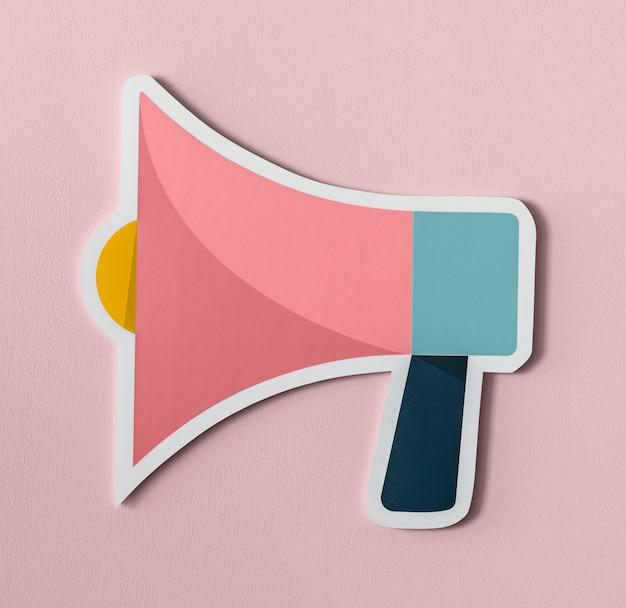 Icona della carta audio dell'altoparlante del megafono