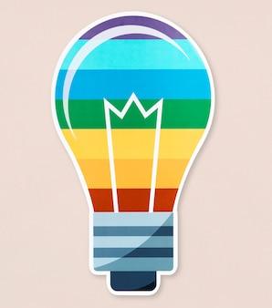Icona della lampadina lgbt su isolato