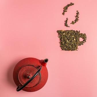 Icona della tazza di tè fatta di foglie di tè secche oolong