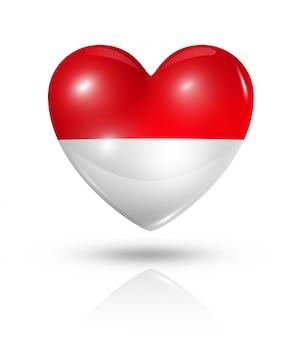 Icona di bandiera del cuore di amore indonesia