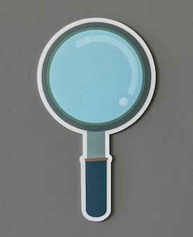 Icona di ricerca della lente d'ingrandimento isolata