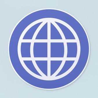 Icona di ricerca globale su sfondo bianco