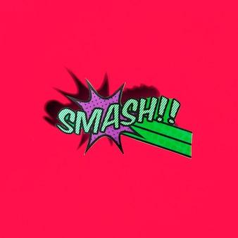 Icona di smash boom comico su sfondo rosso