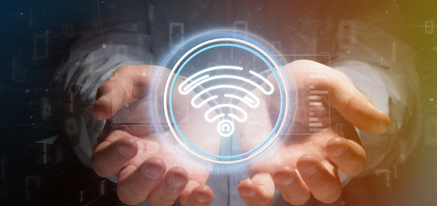 Icona di wifi della tenuta dell'uomo d'affari con le statistiche e la rappresentazione di codice binario 3d