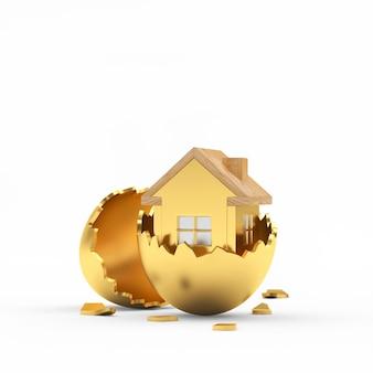Icona dorata della casa all'interno del guscio d'uovo