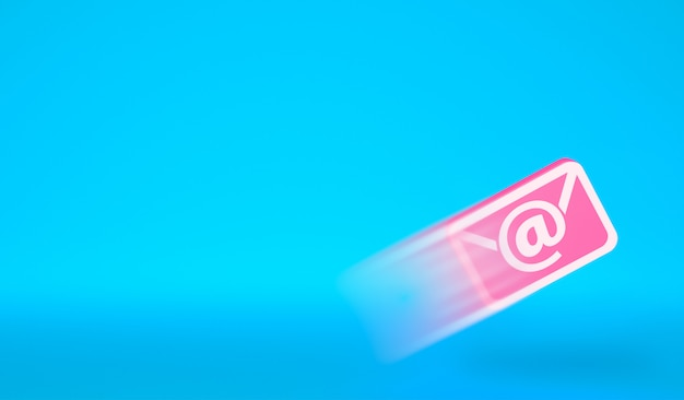 Icona e-mail in volo. invio di un'e-mail