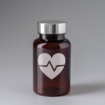 Icona medica sulla bottiglia di medicina per l'assistenza sanitaria globale