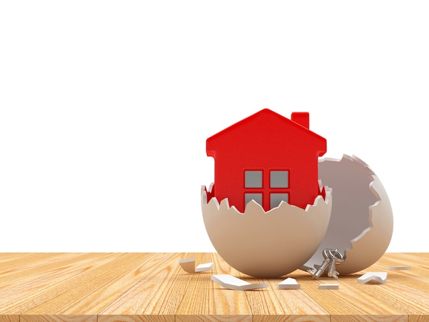 Icona rossa della casa in guscio d'uovo rotto